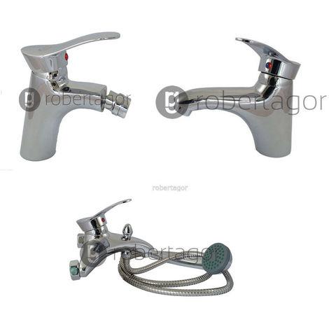 Set rubinetteria bagno 3 rubinetti miscelatori cromato lavabo bidet vasca doccia