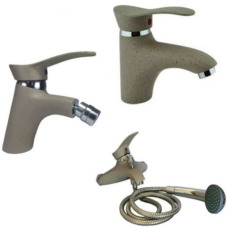 Set rubinetteria bagno 3 rubinetti miscelatori pietra lavabo bidet ...