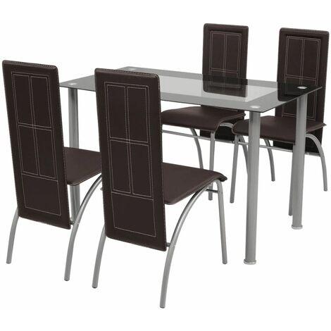 Set sala da pranzo cucina moderno tavolo con piano in vetro ...