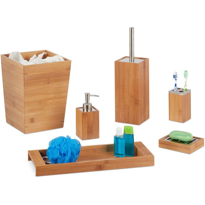 Set salle de bain 6 pcs bambou distributeur porte savon balai wc porte brosses dents - Set salle de bain bambou ...