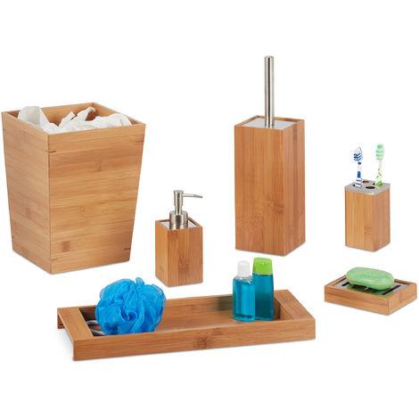 Set salle de bain, 6 pcs, bambou, distributeur, porte-savon, balai WC, porte brosses dents, support, poubelle