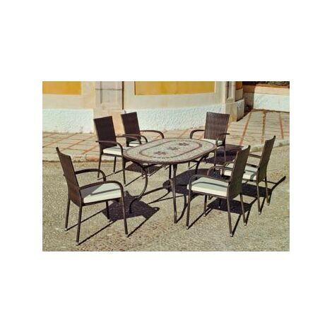 Set Salon De Jardin A Manger LUANA - BERGA en ACIER ET MOSAIQUE STRUCTURE ACIER PLATEAU MOSAIQUE Coussins couleur ECRU ALBA