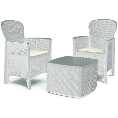 Tavolo In Rattan Bianco.Set Salottino In Resina Rattan Tavolino Poltrone Cuscini Bianco