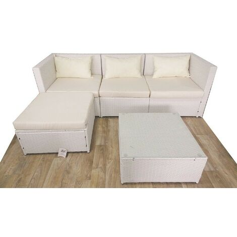 Salotto Polirattan Bianco.Set Salotto Corner 5 Pz Divisibili In Polirattan Colore Bianco Gtr