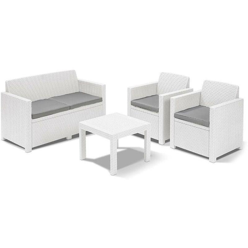 Set Salotto Da Giardino In Polipropilene Divano 2 Poltrone E Tavolino Manieri Bianco