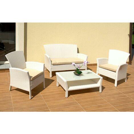 Cuscini Sedie Giardino Offerte.Set Salotto Da Giardino Tavolino Divano 2 Sedie In Polyrattan Con