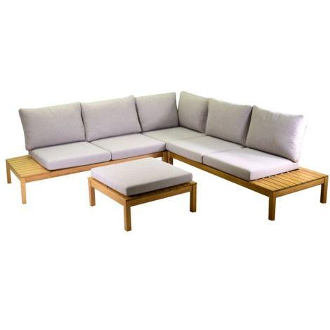 Set salotto divano angolare da giardino in legno naturale da esterno  Nanchino