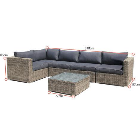 Set salotto divano angolare in rattan sintetico Andresa -