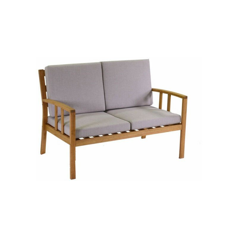 set salotto divano due posti da giardino in legno naturale