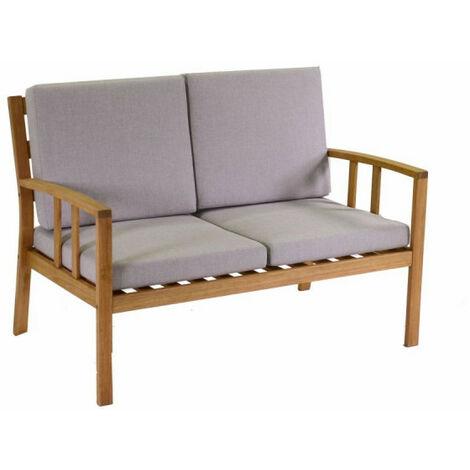 Set salotto divano due posti da giardino in legno naturale for Set giardino legno