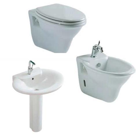 Set sanitari sospesi Ceramica Globo Ronda lavabo, bidet e wc con sedile