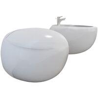 Set Sanitari WC e Bidè a Muro in Ceramica Bianca