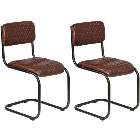 Sedie In Vera Pelle Per Sala Da Pranzo.Set Sedie Da Pranzo 2 Pz In Vera Pelle Marrone