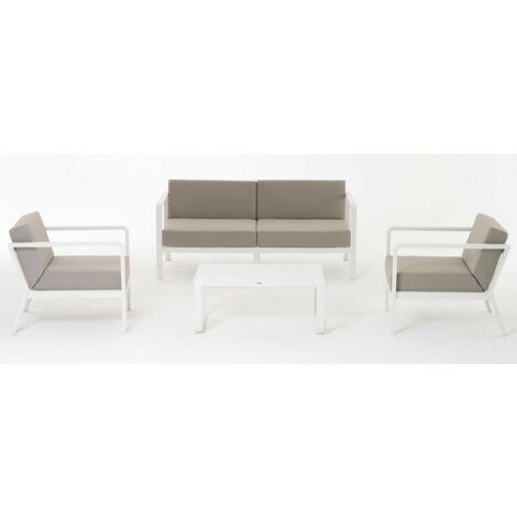 Cuscini Grigi.Set Sofa Barrel Colore Bianco Salottino Alluminio Cuscini Grigi