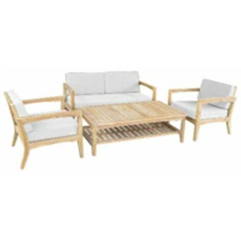 Divano Poltrone Legno.Set Sofa Texas In Legno Eucalypto Divano 2 Pt Poltrone E Tavolino