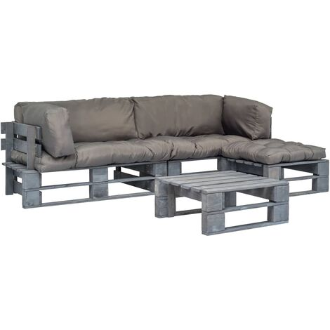 Set sofás jardín de palés 4 pzas y cojines grises madera