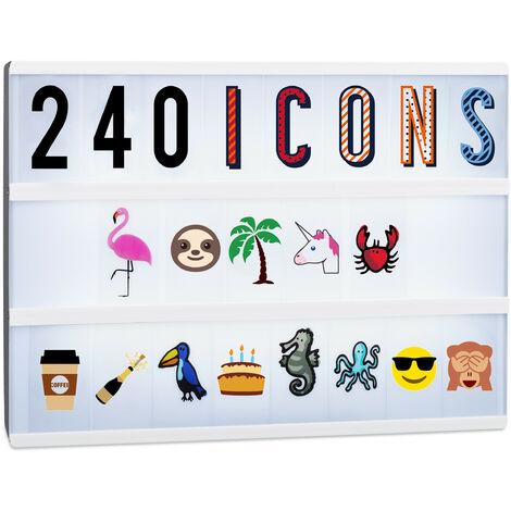 Set Suppléments Boîte à lumière LED 240 Signes originaux, Extension Lettres Chiffres Icônes, multicolore