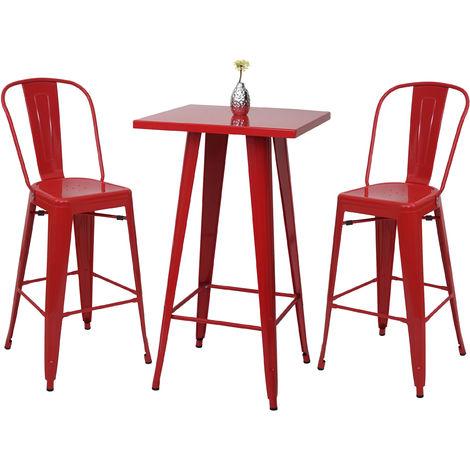 Set table mange-depout + 2x tabouret de bar HHG-866, chaise/table de bar, design industriel ~ rouge