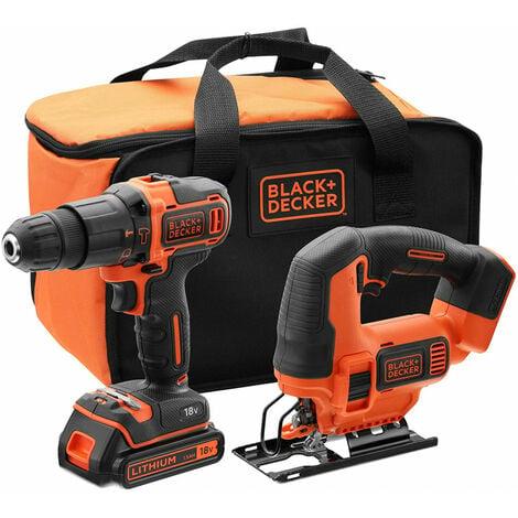 Set Taladro Percutor + Sierra de Calar Black+Decker 18V + Bateria 1,5Ah y Bolsa de Transporte BCK22S1S-QW