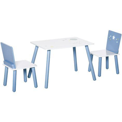 """main image of """"Set Tavolino Con 2 Sedie Per Bambini In Legno Azzurro E Bianco"""""""