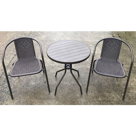 Tavolini E Sedie Da Esterno.Set Tavolino E 2 Sedie Da Giardino In Acciaio Bauer Tiffany Grigio