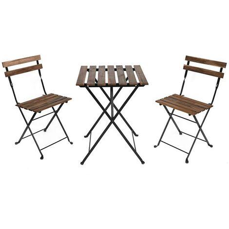 """main image of """"Set Tavolino e Due Sedie da Giardino Modello Bistrot in Legno e Ferro"""""""