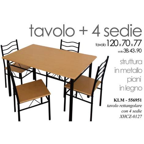 Set 4 Sedie Cucina.Set Tavolo 120x70xh77cm 4 Sedie Metallo Piano In Legno Arredo Cucina Xhcz0127