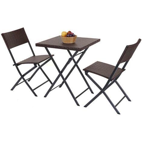 Tavolo pieghevole tavolo GIARDINO 2 SEDIE PIEGHEVOLI PER ESTERNI marrone giardino-patio TAVOLO
