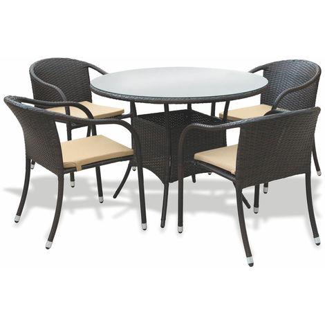 Tavolo 4 Sedie Da Giardino.Set Tavolo 4 Sedie Da Giardino In Polyrattan Soriani Milo Marrone
