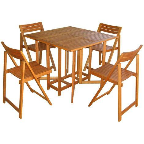 Sedie In Legno Giardino.Set Tavolo 4 Sedie In Legno Di Acacia Per Esterno Giardino Portico