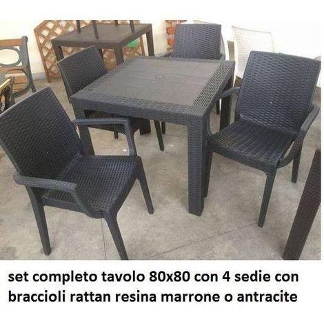 Tavoli Rattan Da Esterno.Set Tavolo 80x80cm 4 Sedia Con Bracciolo Esterno Bar Giardino