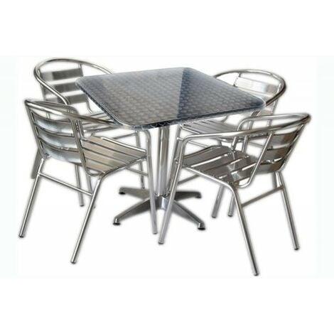 Sedie Bar Alluminio Prezzi.Set Tavolo Bar Quadrato Con 4 Sedie In Alluminio