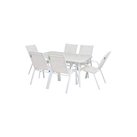 Set Tavolo Completo Bianco con 6 Sedie in Acciaio e Vetro Temperato