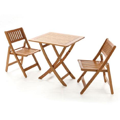 Set Tavolo Giardino Legno.Set Tavolo Con 2 Sedie Da Giardino In Legno Di Acacia Per Esterno