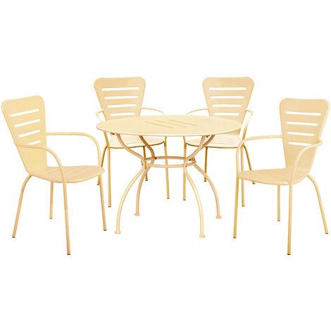 Set Tavolo Sedie Da Esterno.Set Tavolo Con 4 Sedie Da Esterno In Acciaio Crema Salotto Da