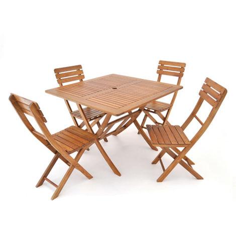 Sedie Da Giardino In Legno Di Acacia.Set Tavolo Con 4 Sedie Da Giardino In Legno Di Acacia Per Esterno Eg54024