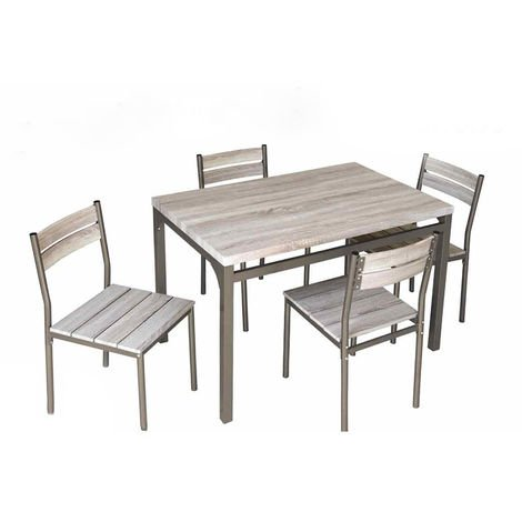 Tavolo In Legno Con 4 Sedie.Set Tavolo Con 4 Sedie In Legno E Metallo Per Cucina Sala Da