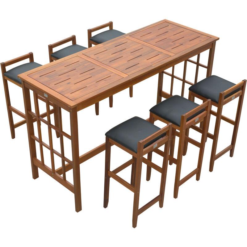 Tavoli Alti Con Sgabelli Per Cucina.Set Tavolo Con 6 Sgabelli Da Bar Cucina Giardino Esterno Con Schienale Poggiapiedi Legno