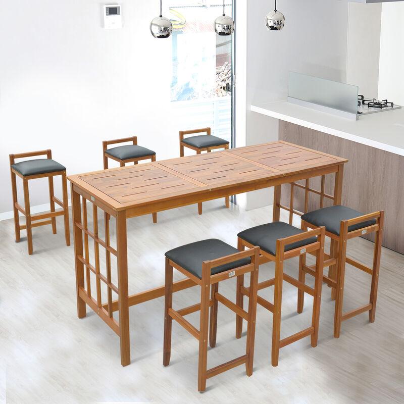 Set Tavolo con 6 Sgabelli da Bar Cucina Giardino Esterno con Schienale  Poggiapiedi Legno