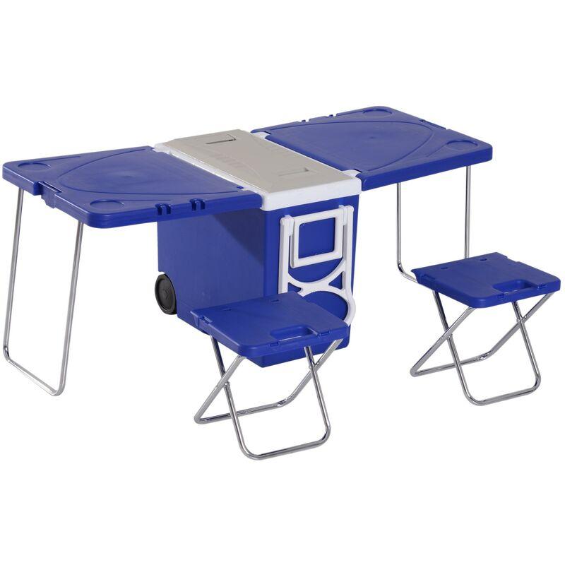 Tavolini Da Campeggio Pieghevoli Con Sedie.Set Tavolo Da Campeggio Con Box Refrigerante E 2 Sedie Pieghevoli