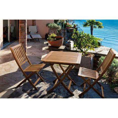 Tavolo Da Giardino Pieghevole Con Sedie.Set Tavolo Da Giardino In Legno Acacia Pieghevole Con 2 Sedie