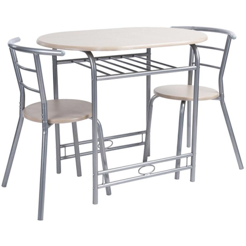 Set Tavolo da Pranzo + 2 Sedie Piano e Sedute in Legno Design Moderno  90x48cm