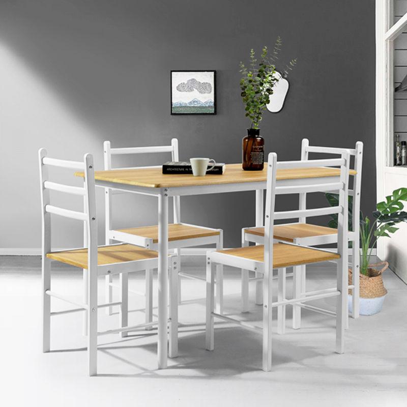 Set Tavolo da Pranzo + 4 Sedie Piano e Sedute in Legno Design ...
