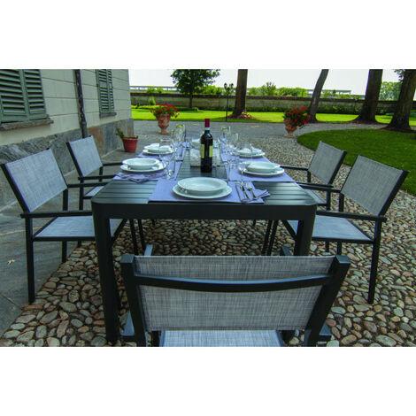 Set Pranzo Da Giardino.Set Tavolo Da Pranzo Estensibile In Alluminio Da Esterno Giardino Cleveland Grigio