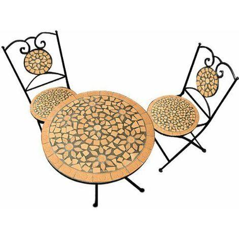 Set Tavolo E 2 Sedie Da Esterno.Set Tavolo E 2 Sedie Da Giardino In Ferro E Mosaico Da Esterno Terrazzo Balcone Colore Principale Mosaico Terracotta