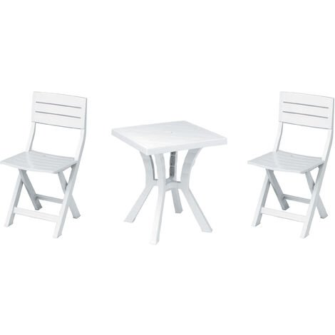 Set con Tavolo Pieghevole e Quattro sedili in plastica Wiltec Set da Campeggio con 4 sedili