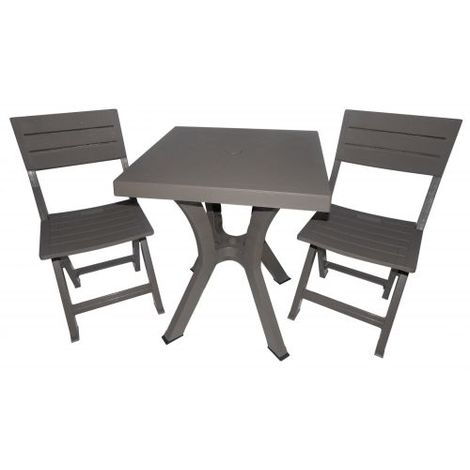 Tavoli E Sedie Pieghevoli.Set Tavolo E 2 Sedie Pieghevoli Duetto In Resina