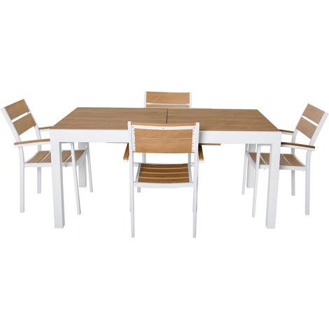 Tavolo Allungabile In Legno Con 4 Sedie.Set Tavolo E 4 Sedie Cayman Natural Estensibile In Alluminio E