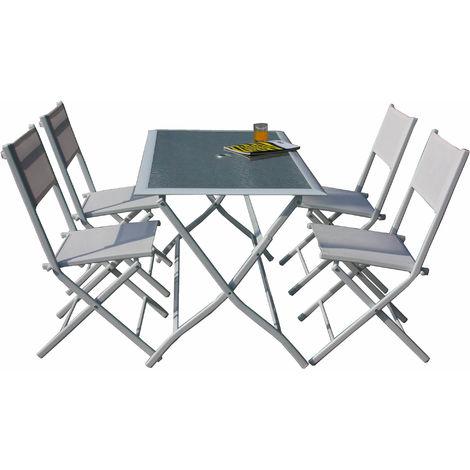 Set Tavolo E 4 Sedie Pieghevoli Da Giardino In Acciaio Bauer Astro ...