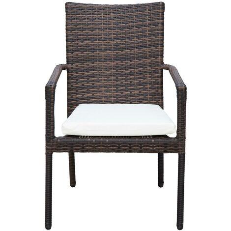 Set Tavolo E 6 Sedie Da Giardino In Rattan Sintetico E Vetro
